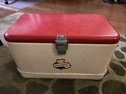 Vintage Steel Falstaff Beer Ice Chest Cooler With Ice Pick