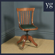 Antique English Edwardian Beech And Green Leather Revolving Office Desk Side Chair