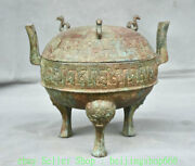 8 Antique China Bronze Ware Dynasty Palace 3 Foot Lid Incense Burners Censer