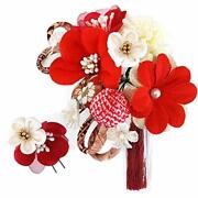 Hair Ornaments Hairpin Large And Small 2-piece Set Flower Kk-094 White Red Comin