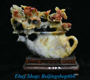 9 Chinese Natural Shoushan Stone Carved Peony Flower Bird Kettle Pot Flask
