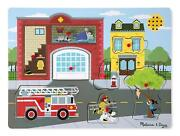 Melissa And Doug Around The Fire Station Sound Puzzle Wooden Peg Puzzle 8 Pcs