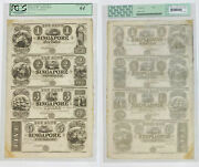 1830and039s Bank Of Singapore Mi 4 Note Uncut Sheet Pcgs Very Choice New-64