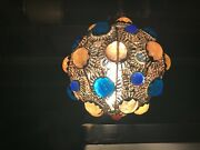 Hanging Swag Hippie Light Moroccan Spaghetti Copper Brass Glass Orbs 8 Nice