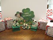 6 Piece Mary's Moo Moos Cow Irish St. Patrick's Day Figurines March Green