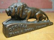 Connell Wood And Metal Products Nyc Lion Antique Brass Advertising Paperweight