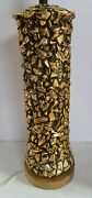 Mid Century Brutalist Gold Chunky Table Lamp Black Reveal