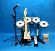 Xbox 360 The Beatles Rock Band Band Ludwig Drums Fender Guitar Microphone Stand