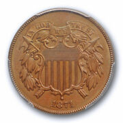 1871 2c Two Cent Piece Pcgs Ms 64 Bn Uncirculated Brown Better Date Sharp