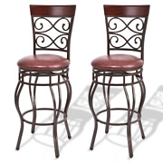 2pcs Vintage Bar Stools 360 Degree Swivel Padded Seat Dining Kitchen Home Chair