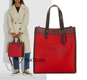 💘🎁nwt Coach Colorblock Mixed Leather N Suede With Coach Badge Field Tote 550