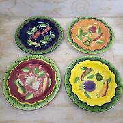 Set Of 4 Gates Ware Laurie Gates Plate Dots On Rim Vegetable Fruits 9