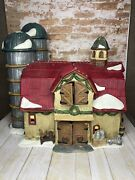 2001 O'well Red Roof Barn Silos Stable Lighted Christmas Village House Farm