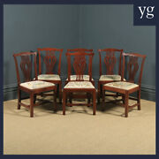 Antique English Set Of Six 6 Georgian Mahogany And Tapestry Dining Chairs