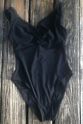 Karla Colletto Black One Piece Swimsuit Sz 10 Ruffle Lace Bathing Suit Womens
