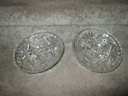 Vtg Anchor Hocking Clear Glass Star Of David Prescut Glass Footed Bowls X2