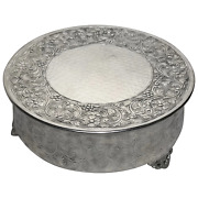 Large Round Regency Style Silver Plate Acanthus Christmas Cake Display Stand