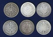 Germany Empire 1 Mark Silver Coins 1875-a, 1875-d, 1875-h, 1875-j, 1876-a,...