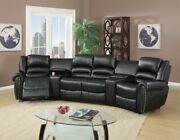 Living Room Home Family Reclining Black Bonded Leather Sectional W Console Couch