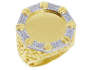 10k Yellow Gold Engravable Memory Frame 0.42ct Real Diamond Ring 24mm
