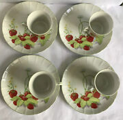 Vintage Strawberry Hill By Mann Snack Plate And Tea/coffee Cup Service For 4