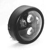 Dc Motive Motorcycle Led Headlight With Billet Housing Black Or Silver