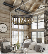 Xl Iron And Antler Rustic Farmhouse Lodge Chandelier Foyer