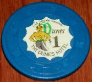1 1st Edition Navy Blue Gaming Chip From The Dunes Casino Las Vegas