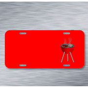 Barbecue Bbq Burgers Charcoal On License Plate Car Front Add Names