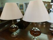 Vintage Leviton Amber Glass Table Lamps