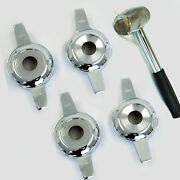 2-bar Zenith Cut Smooth Chrome Knock-off + Lead Hammer For Lowrider Wire Wheels