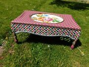 Mackenzie Childs Floral Resin Wicker Coffee Table Courtyard Outdoor Sun Room
