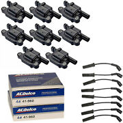 Acdelco Double Platinum Spark Plug And Ignition Coil Wireset For Chevrolet 4.8l V8