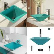 Glass Vessel Sink In Cerulean With R9-7003 Faucet And Pop-up Drain In Antique Br
