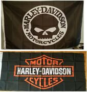 2 Harley Davidson Bar And Shield + Black Willie G Flags Banner 3 X 5 Grommets