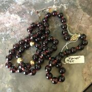 """14k Gold And Garnet Bead 18"""" Necklace"""