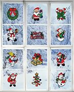 Christmas Decorations Andndash Holiday Window Sticker Clings - 12 Pack - Santa Claus...