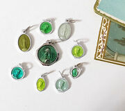 Enameled Religious Medals Set Of 9 Green French Pendants Catholic Charms Vintage