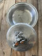 Antique Chinese Pewter Lidded Bowl With Jade. Calligraphy Signed 古董锡碗