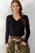 Nwt Anthropologie Maeve Black Thea V-neck Ribbed Sweater, Sz X-small, 78.00 New