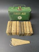 Vintage Nos 1950s Bell Telephone Co First Aid Kit Green Metal Box Container