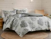 Madison Park Amoria Full/queen 3-piece Duvet Cover Set White Grey Palm Leaf New