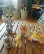 Vintage Mixed Toy Lot 5 Wind Up Toys Et Bugs Bunny Snoopy Tin Mouse 1960's-90's