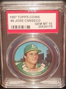 Psa 10 Gem Mint 10 - Jose Canseco 1987 Topps Coins Card Oakland Athletics A's