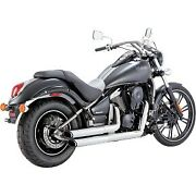 Vance And Hines 18397 Chrome Twin Slash Staggered Exhaust For 06-17 Kawasaki Vn900