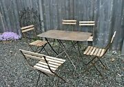 Vintage French Folding Iron Metal Garden Table Bistro Patio Table And Chairs Set