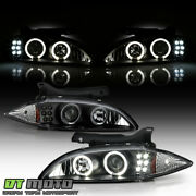 Blk 1995-1999 Chevy Cavalier Led Halo Projector Headlights Headlamps Left+right