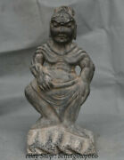 39cm Old Chinese Hongshan Culture Black Stone Carved Protector Door God Statue