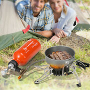 Camping Stove Set Outdoor Portable Fuel Oil Bbq Cooking Bur-ner+gas Bottle E3c4