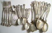 35 Pieces Rogers Bros Vintage Grape Silverplate Flatware Craft Lot As Is